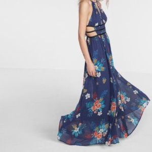 Blue Floral Cut-Out Maxi